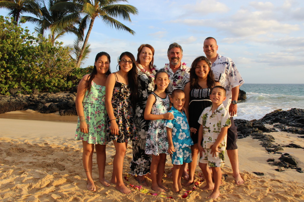 Maui Vow Renewal at Makena Cove with children and grandchildren